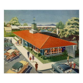 Vintage Business, Family Restaurant with Customers Poster
