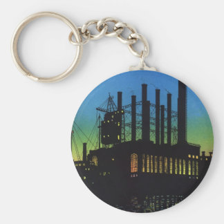 Vintage Business, Manufacturing Factory at Sunset Basic Round Button Key Ring