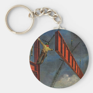 Vintage Business, Steel Construction Workers Basic Round Button Key Ring