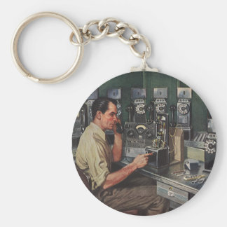 Vintage Business, Telephone Pay Phone Repairman Basic Round Button Key Ring