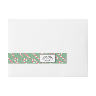 Vintage Candy Canes Pattern Wraparound Address Label