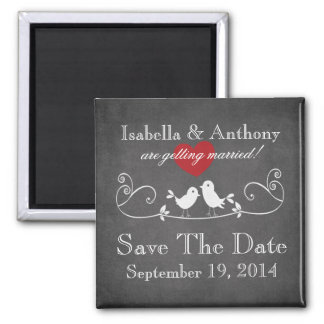 Vintage Chalkboard Love Birds Save The Date Magnet