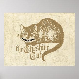 Vintage Cheshire Cat Illustration Poster