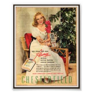 Vintage Chesterfield Cigarette Advertising 1945 Photo Art