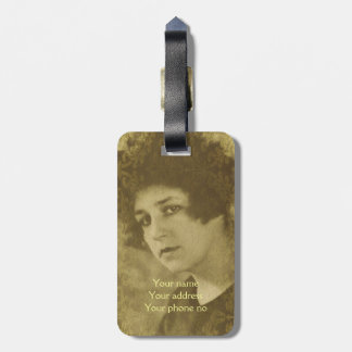 Vintage chic young woman portrait tags for bags