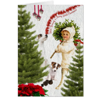 Vintage Child & Jack Russell Merry Christmas Greeting Card
