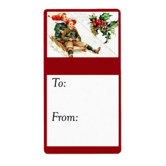 Vintage Children Sledding Gift Tag Shipping Label