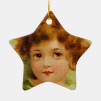 Vintage Christmas Angel Green and Red Ceramic Star Decoration