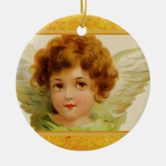 Vintage Christmas Angel Green and Red Round Ceramic Decoration