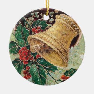 Vintage Christmas Bell Round Ceramic Decoration