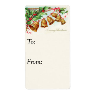 Vintage Christmas Bells Ringing Gift Tag Shipping Label
