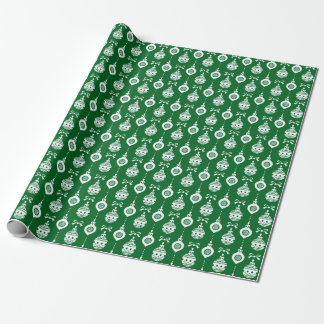 Vintage Christmas Ornaments Green Wrapping Paper
