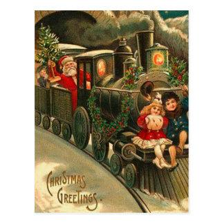 Vintage Christmas Santa On Train Postcard