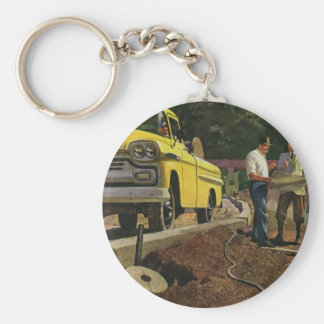 Vintage Construction Business Architect Contractor Basic Round Button Key Ring