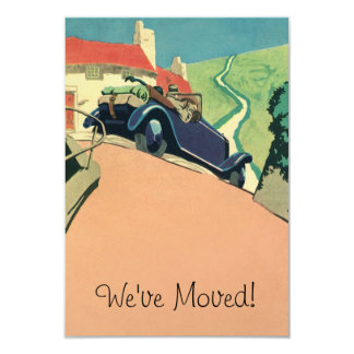 Vintage Convertible Car Change of Address 9 Cm X 13 Cm Invitation Card