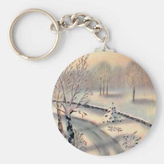 Vintage Countryside Christmas Keychain