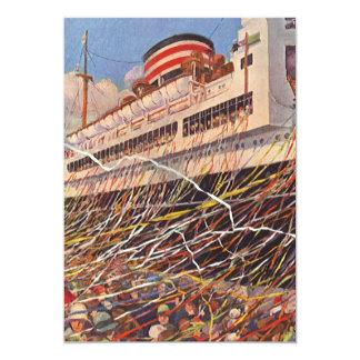Vintage Cruise Ship Vacation; Bon Voyage Party! 13 Cm X 18 Cm Invitation Card