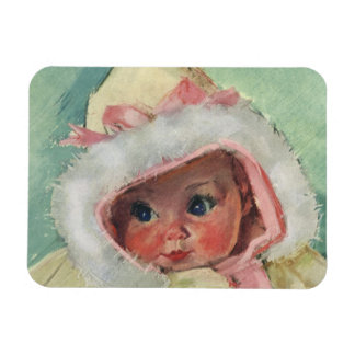 Vintage Cute Baby Girl Wearing a Faux Fur Coat Rectangular Photo Magnet