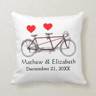 Vintage Cute Tandem Bicycle Custom Wedding Cushions