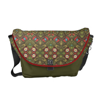 Vintage Daisy Floral Green Courier Bag