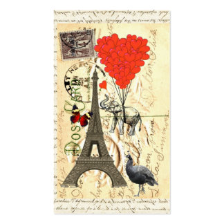 Vintage elephant and red heart balloons pack of standard business cards