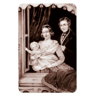 Vintage Family With Infant Child. Rectangular Photo Magnet