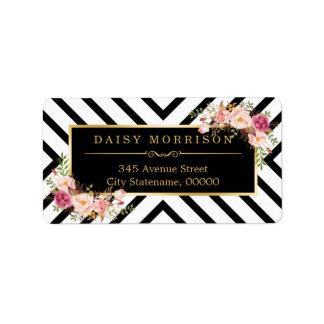 Vintage Floral Gold Black White Abstract Stripes Address Label