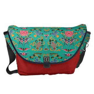 Vintage Floral on Bold Teal Commuter Bag