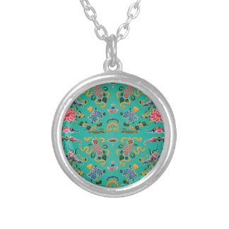 Vintage Floral on Bold Teal Round Pendant Necklace