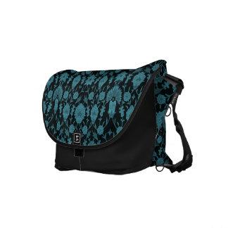 Vintage Floral Pattern - Aqua on Black Commuter Bags