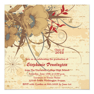 Vintage floral swirl graduation party announcement