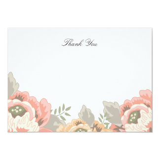Vintage Floral Thank You Note Card 11 Cm X 16 Cm Invitation Card