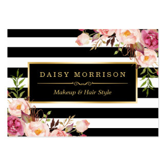 Vintage Floral Wrapping Around Black White Stripes Pack Of Chubby Business Cards