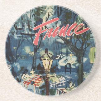 Vintage France Advertisement Blue Cafe Travel Coaster