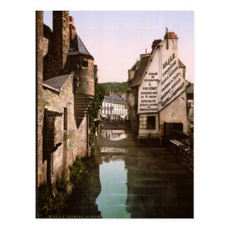 Vintage France, River Steir Footbridge, Quimper Postcard