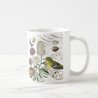 Vintage French bird and floral mug