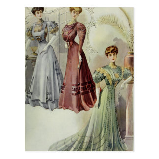 Vintage French Fashion – Red, Gray, Green Dress Postcard