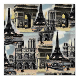 Vintage French Paris Travel Collage Eiffel Tower Poster