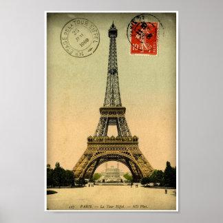Vintage French Postcard Eiffel Tower Paris France Poster