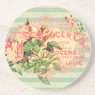 Vintage French, roses and advertising postcard Beverage Coasters
