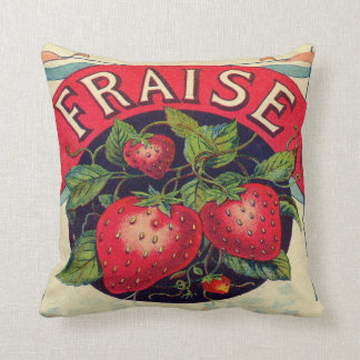 Vintage French Strawberry Sign Throw Pillow Cushions