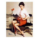 Vintage Gil Elvgren Office Corporate Pinup Girl Postcard