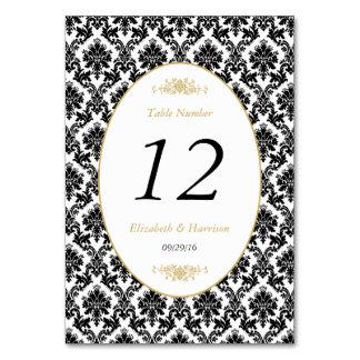 Vintage Gold Black & White Damask Weddin Table No. Table Cards