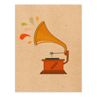 vintage gramophone with music spashes postcard