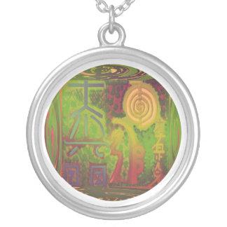VINTAGE Green Choice  Reiki Main Symbols Round Pendant Necklace