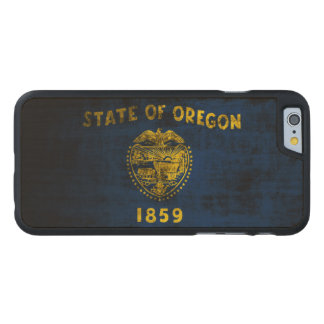 Vintage Grunge State Flag of Oregon Carved® Maple iPhone 6 Slim Case