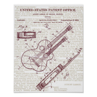 Vintage Guitar Patent Drawing Poster