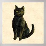 Vintage Halloween Cat Poster