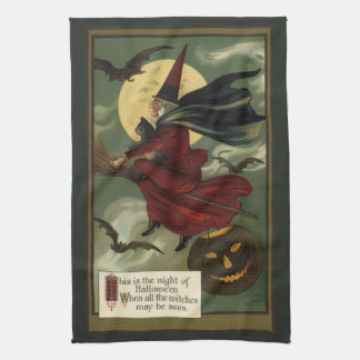 Vintage Halloween Witch Riding a Broom with Cat Hand Towels