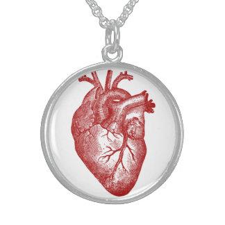 Vintage Heart Anatomy Round Pendant Necklace